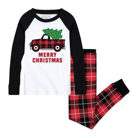 Christmas Truck - Toddler Matching Family Christmas Pajama Set - White/Black Red Buffalo Plaid