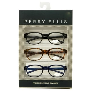 Perry Ellis Mens 3 Multi Pack Plastic Reading Glasses +1.5 Black/Demi/Navy PEBX27, Includes Perry Ellis Pouch