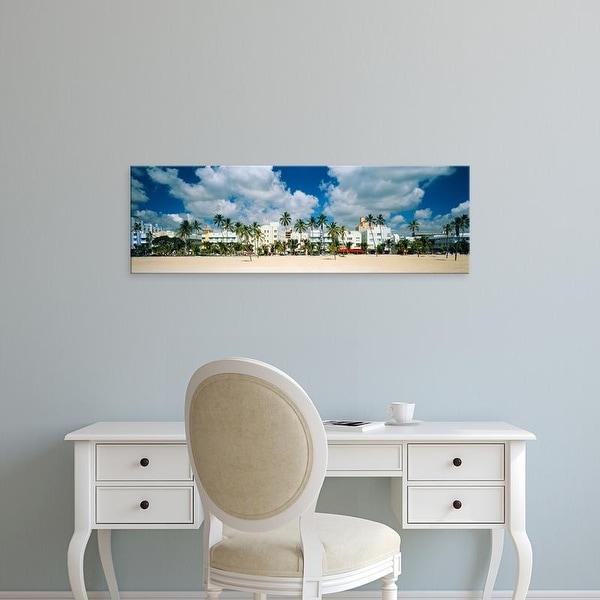 Easy Art Prints Panoramic Image 'Hotels on the beach, Art Deco Hotels, Ocean Drive, Miami Beach, Florida' Canvas Art