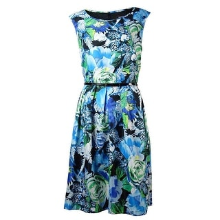 Ellen Tracy Women's Belted Floral Print Fit & Flare Dress - Blue Multi