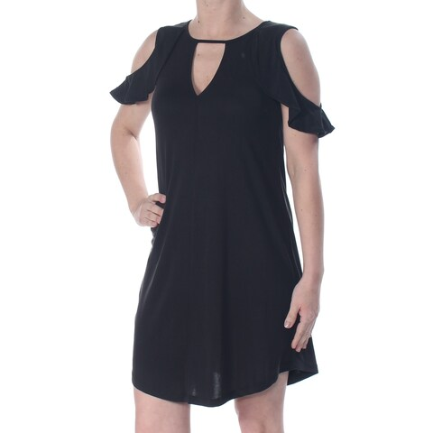 JESSICA SIMPSON Womens Black Ruffled Cold Shoulder Keyhole Above The Knee A-Line Cocktail Dress Size: XS