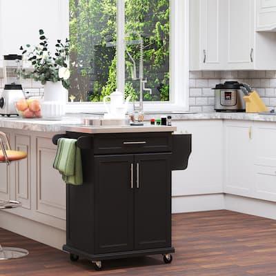 HOMCOM Rolling Kitchen Island Utility Storage Cart With Drawer, Spice Rack & Wheels - Black