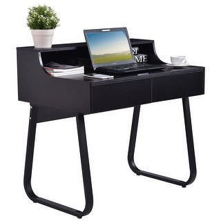 be0b0e077c98d Shop Costway Computer Desk PC Laptop Study Writing Table Workstation w  2  Drawers Home Office - Black - Free Shipping Today - Overstock - 18778386
