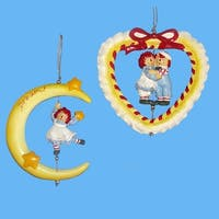 """Club Pack of 12 Raggedy Ann and Andy Moon and Heart Christmas Ornaments 4"""" - multi"""