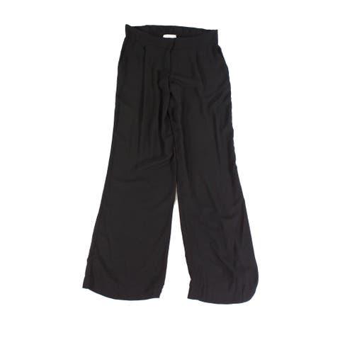 WAYF Womens Dress Pants Deep Black Size Medium M Flat-Front Stretch