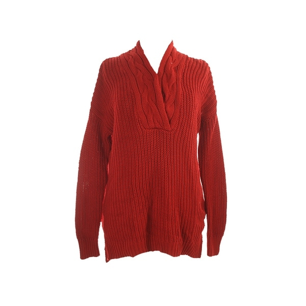 Lauren Ralph Lauren Red Long-Sleeve V-Neck Sweater M