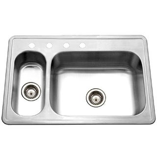 """Houzer LHD-3322  Legend 33"""" Double Basin Drop In 20-Gauge Stainless Steel Kitchen Sink with 20/80 Split and Sound Dampening"""