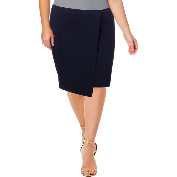 2eed17e4a2 Shop Grace Elements Womens Pencil Skirt Asymmetric Faux-Wrap - 12 - Free  Shipping On Orders Over $45 - Overstock - 27472889