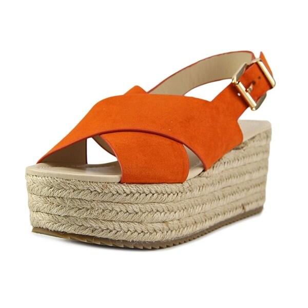Nine West Beachy Women Open Toe Canvas Orange Wedge Sandal