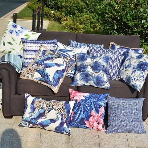 "Elegant Design Tropical Leaves Waterproof Indoor Outdoor Decorative Pillow Cover 18"" x 18"""