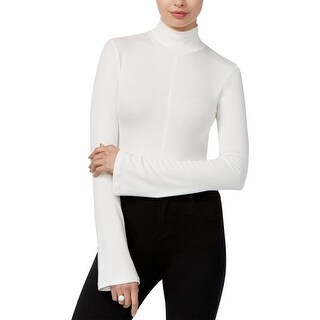 Guess Womens Crop Top Pleated Bell Sleeves - l