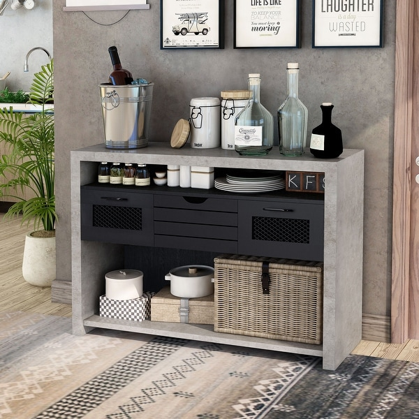 Furniture of America Tele Industrial 1-drawer Rectangle Console Table. Opens flyout.