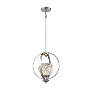 Woodbridge Lighting 13923STN-WHT 1 Light Adjustable Height Foyer Pendant with Sa