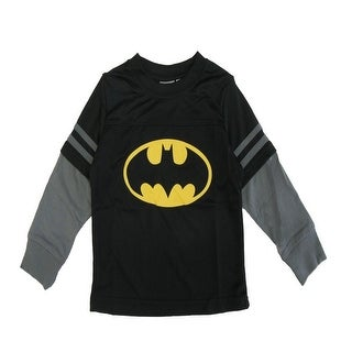 Marvel Little Boys Black Long Sleeve Batman Long Sleeve Shirt 2T-7