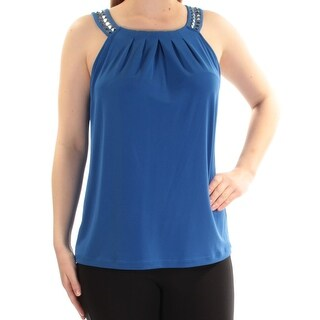 Womens Blue Sleeveless Square Neck Top Size L
