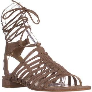 Staurt Weitzman Knotagain Flat Strappy Sandals, Haze Suede - 8 us