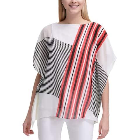 Calvin Klein Womens Kaftan Top X-Large XL White / Watermelon Mixedx Striped