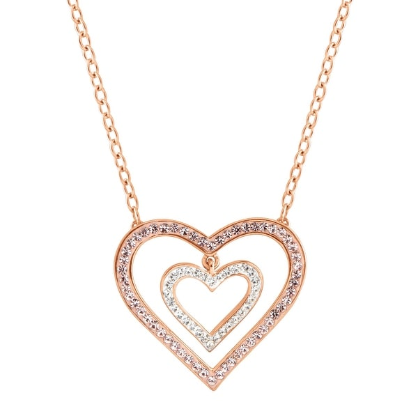 Crystaluxe Concentric Suspended Heart Necklace with Swarovski elements Crystals in 18K Rose Gold-Plated Sterl