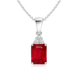 Angara Prong Set Emerald Cut Ruby Pendant with Diamond - Red