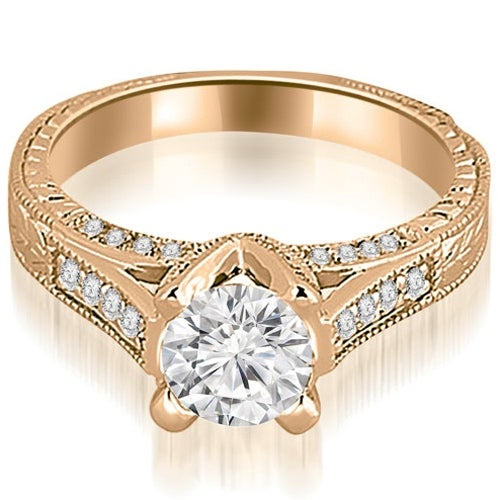 1.10 cttw. 14K Rose Gold Antique Cathedral Round Cut Diamond Engagement Ring