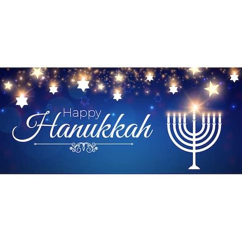 "7' x 16' Blue and White ""Happy Hanukkah"" Christmas Double Car Garage Door Banner"