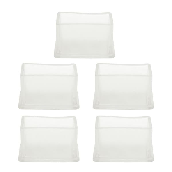"Clear PVC Chair Leg Caps End Tip Feet Cover Furniture Glide Floor Protector 5pcs 0.79"" x 1.57"" (20x40mm) Inner Size"