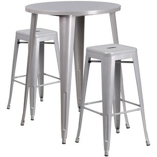 Brimmes 3pcs Round 30'' Silver Metal Table w/2 Square Seat Backless Barstool
