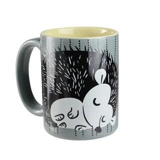 5 Decorative Black, White and Gray Dotted Stripes Sleepy Hedgehog Mug