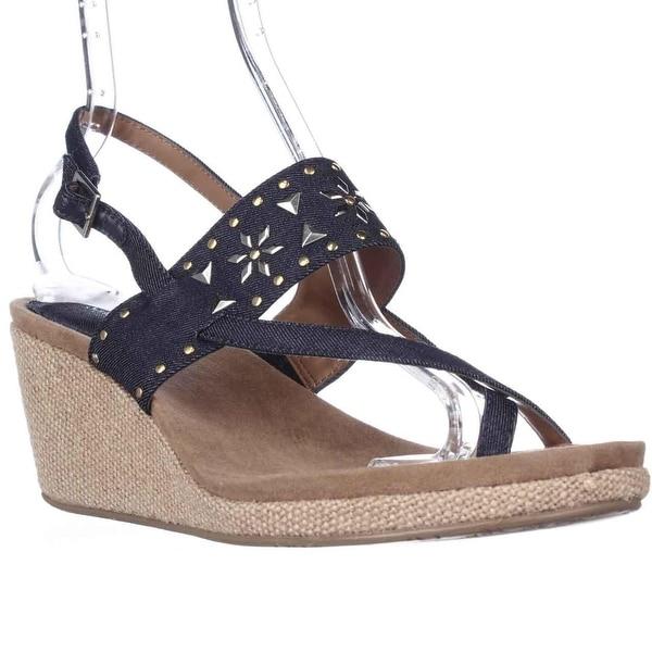 SC35 Jazzmine Studded Wedge Toe Loop Sandals, Indigo