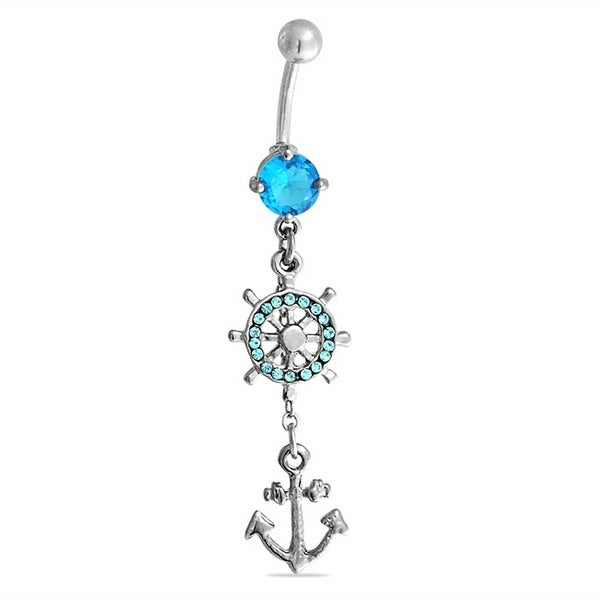 14ga 316L Surgical Steel Aqua CZ Gems with Anchor Dangle Belly Navel Ring