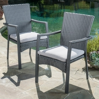 Corsica Outdoor Wicker Dining Chair (Set of 2) by Christopher Knight Home
