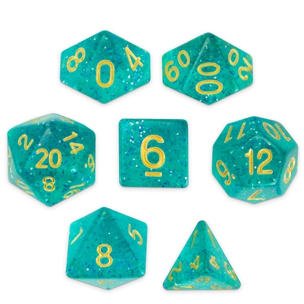Set Of 7 Polyhedral Dice Celestial Sea