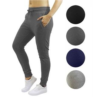 Women's 2 Pack Fleece Jogger Sweatpants With Zipper Pockets