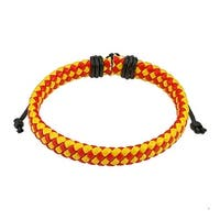 Red and Yellow Diagonal Checker Weaved Leather Bracelet with Drawstrings (9 mm) - 7.5 in