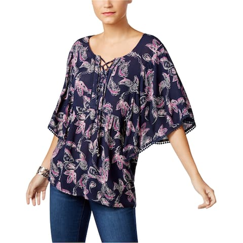 Style&Co. Womens Lace Up Knit Blouse
