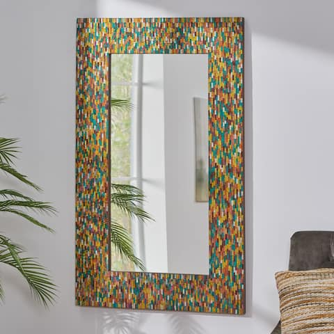 """Dola Boho Handcrafted Rectangular Mosaic Wall Mirror by Christopher Knight Home - 30.00"""" L x 1.00"""" W x 48.00"""" H"""