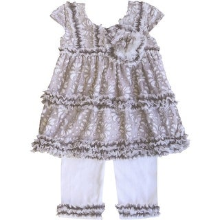 Isobella & Chloe Little Girls Taupe Cinnamon Spice Ruffle Pants Outfit 2-4T