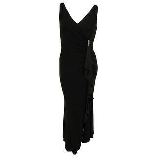 Lauren Ralph Lauren Women's Full Length Ruffle Jersey Dress