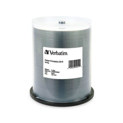Verbatim VER95252S Verbatim 700 MB 52x 80 Minute White Inkjet Printable Recordable Disc CD-R, 100-Disc Spindle 95251