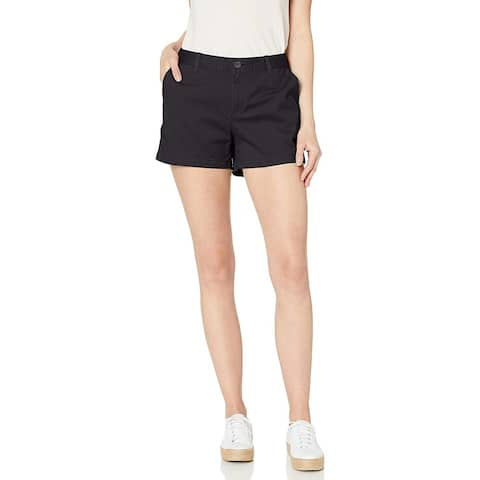 "Essentials Women's 3.5"" Inseam Solid Chino Short, Black, 12 - 14"