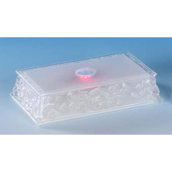 "Pack of 8 Icy Crystal Illuminated Rectangular Base for Use Under Figurines 1"" - CLEAR"