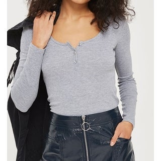 TopShop NEW Gray Womens Size 8 Euro 40 Button-Detail Heather Knit Top