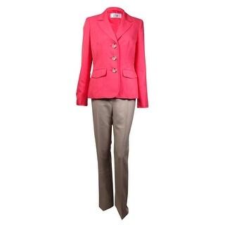 Le Suit Women's Verona Twill 3-Button Pant Suit (4, Sunkist Coral/Sand) - sunkist coral/sand - 4