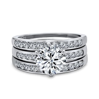 Link to 3.5CT Solitaire AAA CZ Enhancer Wide Engagement Wedding Ring Band Set Similar Items in Rings