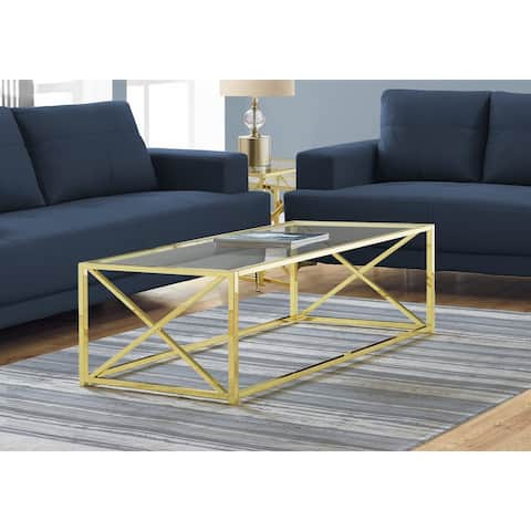 Monarch 3444 Gold Metal With Tempered Glass 44nch Coffee Table
