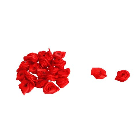 Woman Dress Satin Artificial Decorative Appliques Flower Rose 20 PCS - Red