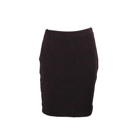 Maison Jules Wine Floral-Print Pencil Skirt S