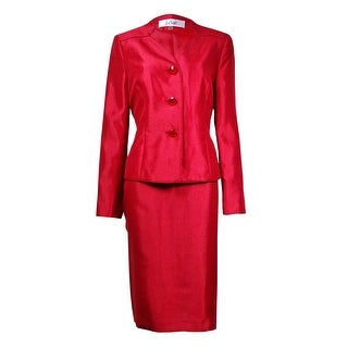 Le Suit Women's Prague 3-Button Dupioni Skirt Suit - Crimson