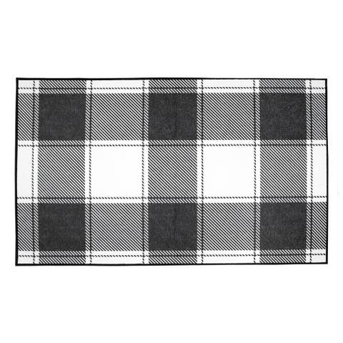My Magic Carpet Machine Washable Area Rug Buffalo Plaid Black & White