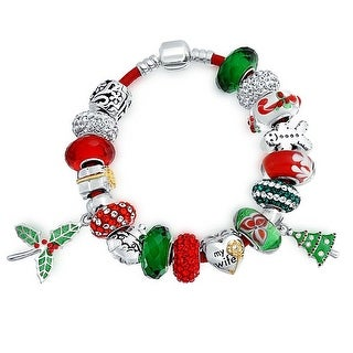 Bling Jewelry Sterling Silver My Wife Heart Charm Christmas Bead Bracelet With Dangle Enamel Glass Charm